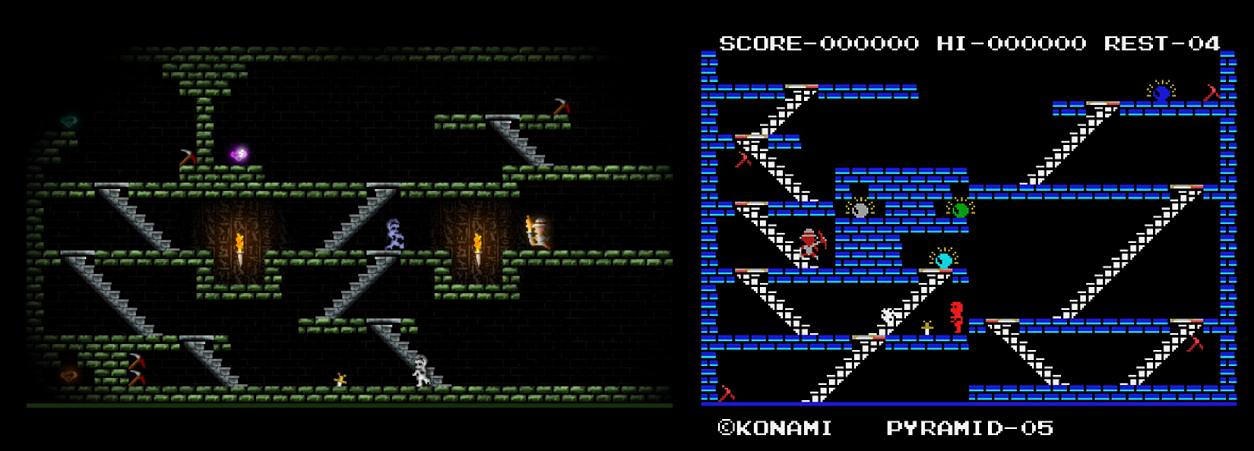 صورة توضح الفرق بين رسومات لعبتي King's Valley (اليمين) و Call of Khafra (اليسار)